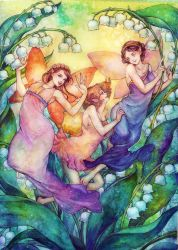 Lily of the Valley fairies by jurithedreamer