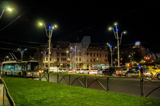 Bucharest life at nightfall by ice4you