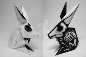 Illustrated origami - Two sided Bunny by Viera8