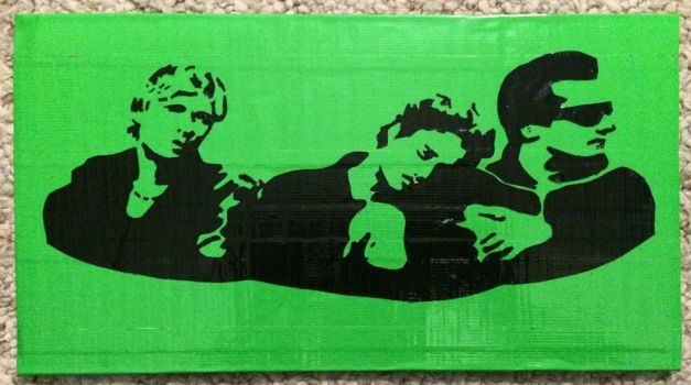 Two color Green Day duct tape portrait by YesterdazeGone