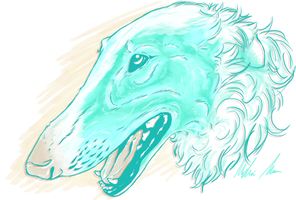 Borzoi in blue by MuteGator