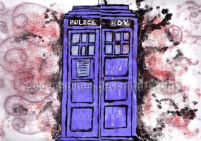 Monotype Print: TARDIS by goldenspines