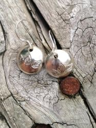Sterling Silver Stamped And Domed Earrings Leaves by 3grim6