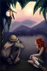 Scientists watching elephants by gness