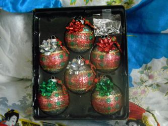 Glass Ornaments Wrapped like Presents by Unoko412