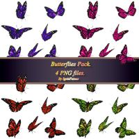 Butteflies  pack_FREE STOCK. 4 PNG FILES! by IgnisFatuusII