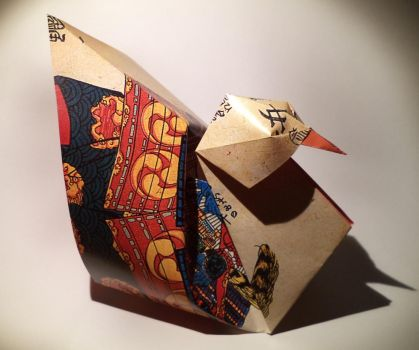 Origami Hen by DonyaQuick