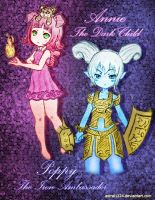 annie and poppy league of legends lolis (colored) by astral1224