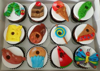 The Hungry Caterpillar Cupcakes by clvmoore