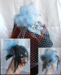 Pale blue flower birdcage hat by fairyfrog