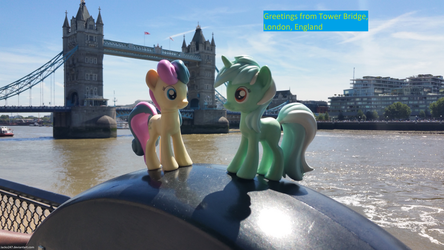 Lyra and Bon Bon at Tower Bridge by Jacko247