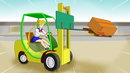 Usagi in a forklift truck by KuriTails