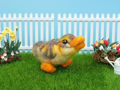 Needle felted duckling by eldris
