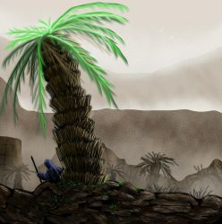 In the shadow of the palm tree  by SvartabergetArt
