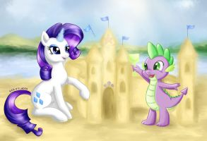 [COMMISSION] Rarity and Spike 01.07.2015 by gocholudek