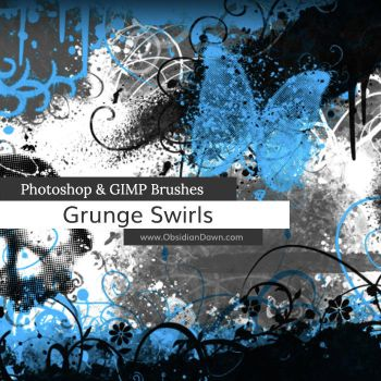 Grunge -n- Swirls Photoshop and GIMP Brushes by redheadstock