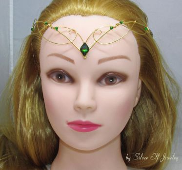 Green and Gold Elven tiara by Lyriel-MoonShadow