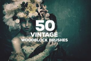 50 Vintage Woodblock Photoshop Brushes by Layerform