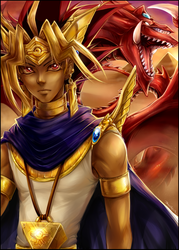 YGO -  Atem and Osiris by Majime