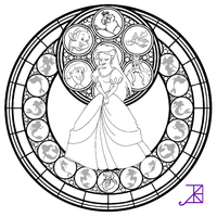 Ariel Stained Glass -line art- by Akili-Amethyst