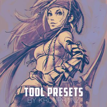 KR0NPR1NZ Tool Presets Brushes and Rikku sketch by Kuvshinov-Ilya
