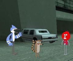 Mordecai and Rigby crash another limo by YRT9401