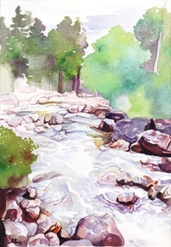Mountain Stream the painting by kgemeni