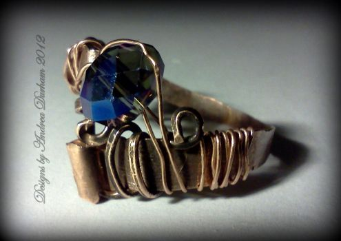 Front view of Copper twisted wire wrapped ring by designsbyandrea