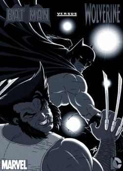 Batman Battles Wolverine by Hal-2012
