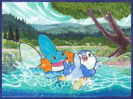 Mudkip and Piplup Commission by karookachoo