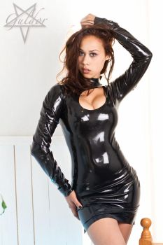 black latex dress by GuldorPhotography