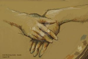 Life drawing study, hands by Masongj