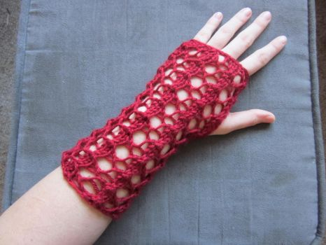 Autumn Red Knit Fingerless Gloves by PamGabriel