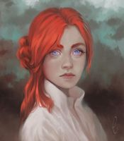 Redhead and violet blue eyes by CristinaDeElias