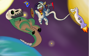 Space viking vs zombie dinosaur... In the space by GatoPez