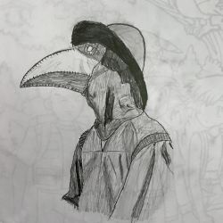 Plague doctor drawing by lunageek520