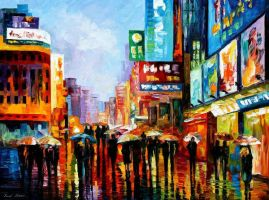 Lights Of Downtown by Leonid Afremov