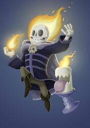 Fire mage and his candle buddy by Rafinerja