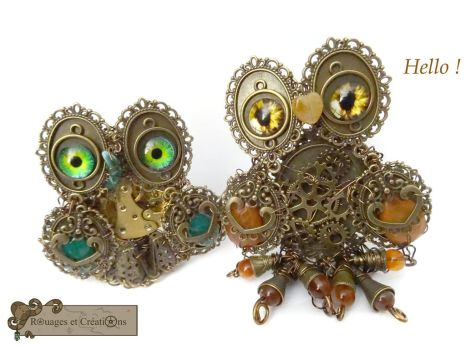 steampunk owls by Rouages-et-Creations