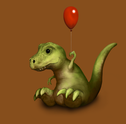 T-rex With Balloon 2 by hwango