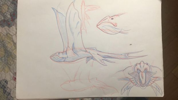 Sketches: Sky Whale by Crystaldemon93