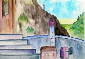 Watercolour castle by jlpicard1701e
