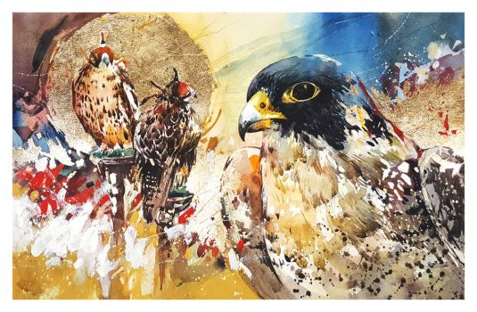 Gold Leaf Watercolour Falcon by Abstractmusiq