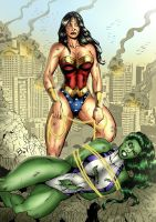 She-Hulk vs Wonder Woman by venneker