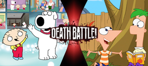 Stewie and Brian vs. Phineas and Ferb by goldsilverbronzekid