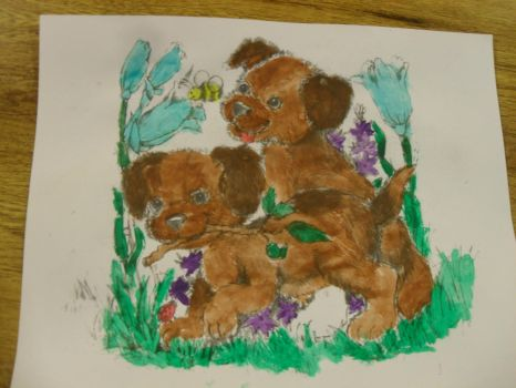 Puppies playing in Grass by MyLoveForYouEternity