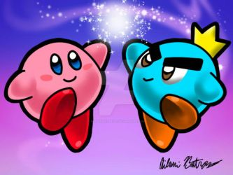 3DS Drawing 1 - Kirby and Prince Fluff by pandaserules97