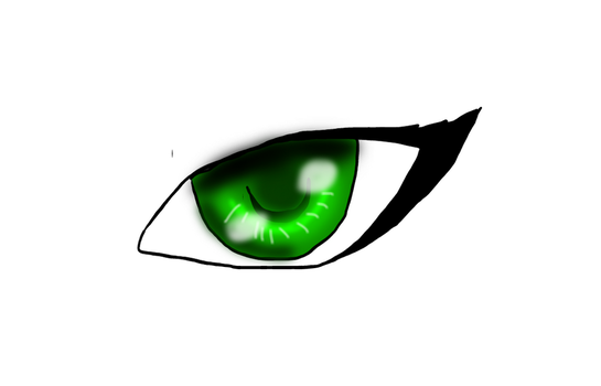 Green Anime Eye by pinkorchid123