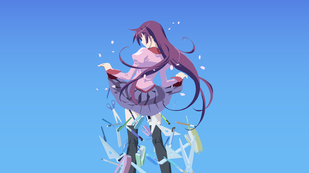 Senjougahara Vector Art Wallpaper by WalidSodki
