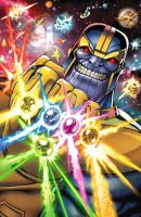 Thanos and the Infinity Guantlet by Dan-the-artguy